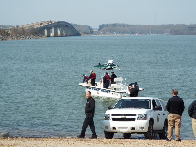 Stewart Co. EMA took Montgomery Co. divers out to look for a submerged vehicle at Gray's Landing Wednesday, April 11.